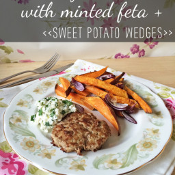 Lamb burgers with minted feta and sweet potato wedges
