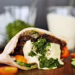 Lamb Pita with Tahini Sauce and Zhug