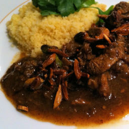 Lamb tagine with dates, almonds and pistachios