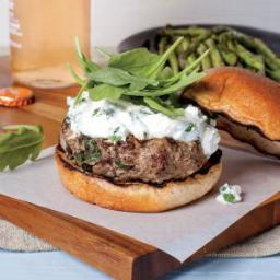 Lamb Burgers with Feta-Mint Spread