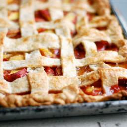 Lattice-Top Peach Slab Pie