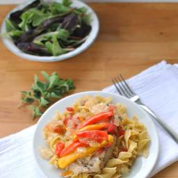 Lean Pork and Sweet Peppers on Noodles