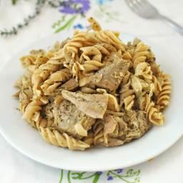 Leftover Turkey Pesto Pasta