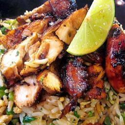 Lemon and lime chicken with coriander-fried rice