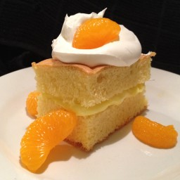 Lemon cake with lemon filling and Mandarin oranges