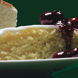Lemon Cornmeal Cake with Lemon Glaze and Crushed Blueberry Sauce