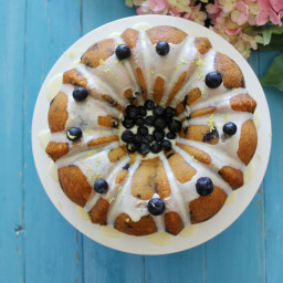 Lemon Pudding Cake with Blueberries
