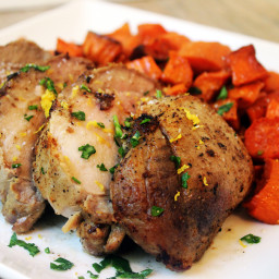 Lemon Salt Marinated Pork Loin with Roasted Lemon Carrots