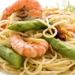 Lemon Shrimp with Asparagus and Angel Hair