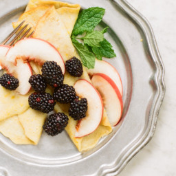 Lemon Crêpes with Blackberries and Peaches