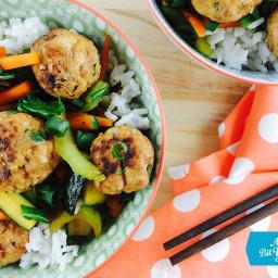 Lemongrass & Cilantro Pork Meatballs with Asian Veggies