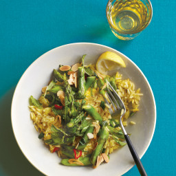 Lemony Minted Asparagus with Saffron Rice