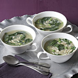 Lemony Orzo Soup with Baby Spinach and Peas