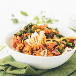 Lentil and Broccoli Rabe with Turnip Spaghetti
