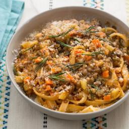 Lentil Bolognese with Fettuccine Pasta and Crispy Rosemary