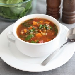 Lentil Soup with Sweet Potatoes and Spinach