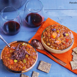 Lentil Soup with Wine Braised Shallots