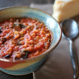 Lentil Soup with Italian Sausage  and  Chard