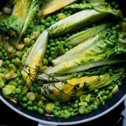 Lightly stewed broad beans, peas and gem lettuce