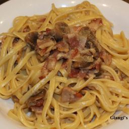 Linguine alla Carbonara with Mushrooms