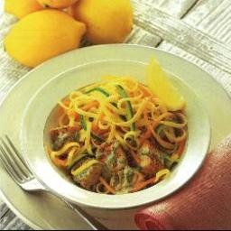 Linguine with pan-fried salmon