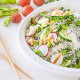 Lychee, vermicelli rice noodles and edamame salad