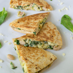 Make Ahead Breakfast Quesadilla with Cheese Spinach and White Beans