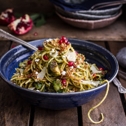 Manchego Brussels Sprout + Prosciutto Spaghetti w/Brown Butter Pistachio Pa