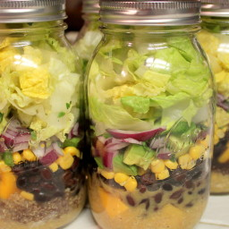 Mango Black Bean Mason Jar Salad w/Honey Lime Viaigrette
