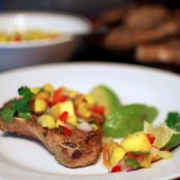 Mango and Peach Salsa + Oven-Baked Pork Chops