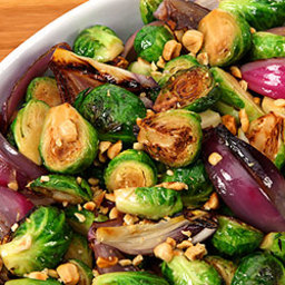 Maple-Roasted Brussels Sprouts with Hazelnuts