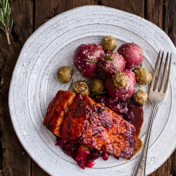 Maple Bourbon Glazed Salmon w/Sweet Cranberry-Apple Chutney + Salt Roasted