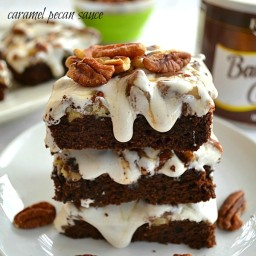 Marshmallow-Topped Brownies With Salted Caramel Pecan Sauce