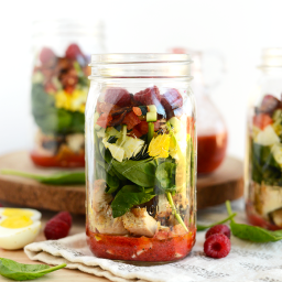 Mason Jar Spring Cobb Salad with Raspberry Basil Vinaigrette