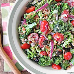 Mayo Free Broccoli Salad with Honey Yogurt Dressing