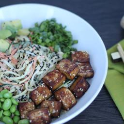Meatless Monday: Spiralized Vegetable Tahini Bowl with Tofu, Edamame & Avoc