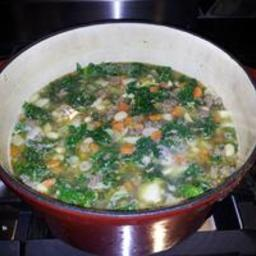 Mediterranean Kale  and  White Bean Soup With Sausage