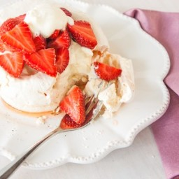 Meringues with Champagne Poached Strawberries and an anniversary