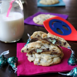 Mint Truffle Stuffed Chocolate Chip Cookies