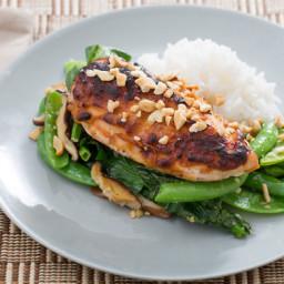 Miso Roasted Chickenwith Spring Peas and Jasmine Rice