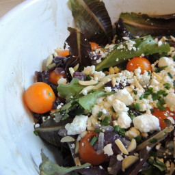 Mixed Greens Salad with Tomatoes, Feta and Toasted Almonds