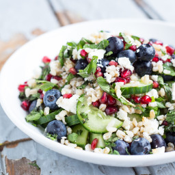Mixed Greens with Feta, Almonds, and Blueberries
