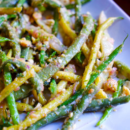 Mixed Yellow and Green Beans with Peanuts, Ginger and Lime