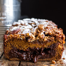 Molten Chocolate Pumpkin + Oatmeal Streusel Bread…heavy on the Chocolate +