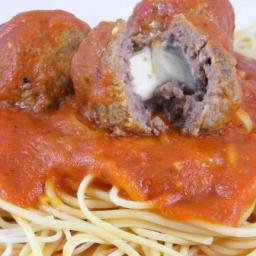 Mozzarella Stuffed Meatballs & Spaghetti