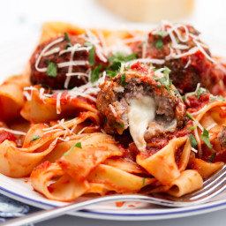 Mozzarella Stuffed Meatballs with Pappardelle