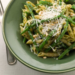 Multi-Grain Penne with Hazelnut Pesto, Green Beans, and Parmesan