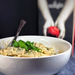 Mushroom ravioli with creamy leek sauce