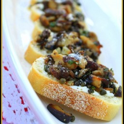 Shiitake, Capers and Anchovy Bruschetta