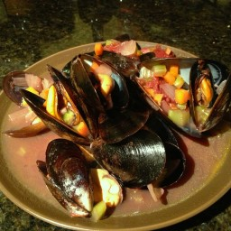 Mussels in Port Wine Sauce